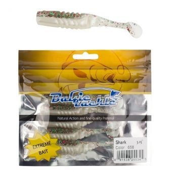 Силиконовая приманка Baltic Tackle Shark 8см светло-серый